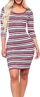 sedrinuo Women Casual Long Sleeve Striped Knitted Sweater Dress Bodycon Midi Work Dress