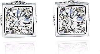 CS-DB Silver Fashion 8MM Cube Design Cubic Zirconia Stud Charm Earrings