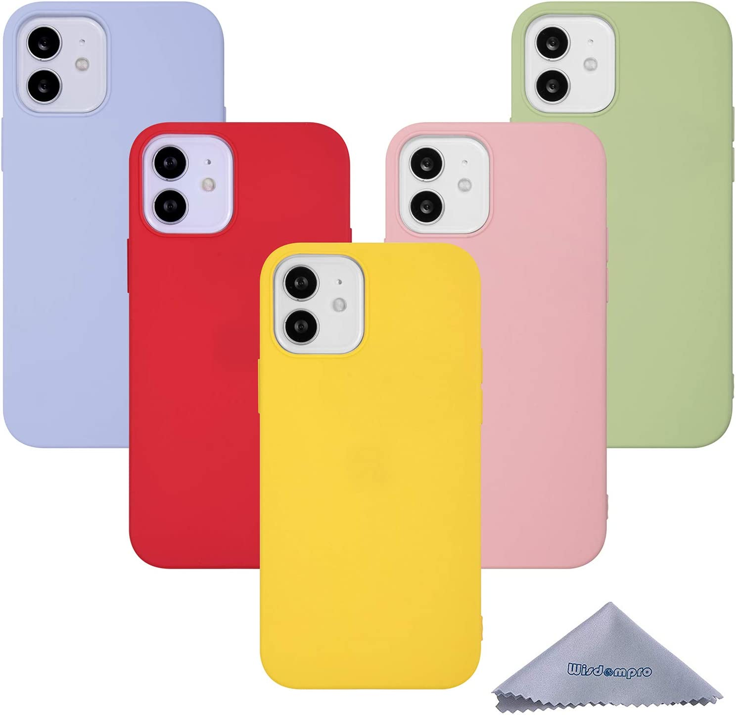 iPhone 12 Mini Case, Wisdompro Bundle of 5 Pack Extra Thin Slim Soft TPU Gel Protective Case Cover for 5.4 Inches Apple iPhone 12 Mini (Green, Light Blue, Pink, Yellow, Red)