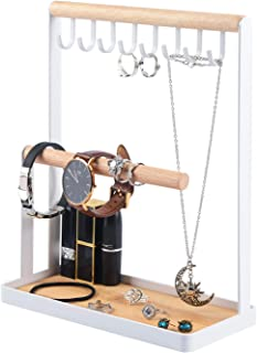 Portin Jewelry Organizer Display Stand Holder with Wooden Ring Tray and Hooks Storage Necklaces Bracelets, Rings, Watches Desk Organizer