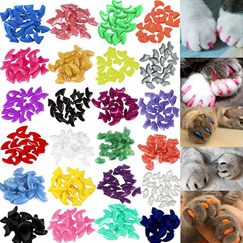 VICTHY 140pcs Cat Nail Caps, Colorful Pet Cat Soft Claws Nail Covers for Cat Claws with Glue and...