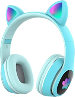 $34 » Docooler Wireless Headset L400 Over Ear Music Earphones Glowing Cat Ear Headphones 7 Color Breathing Lights Foldable BT5.0...