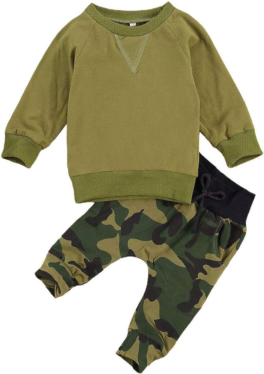 Baby Boy Fall Winter Clothes Set Long Sleeve camo Shirt + Elastic Pants Infant Boy 2PCS Outfit Set