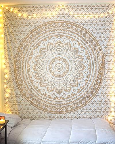 raajsee Tapiz para colgar en la pared, bohemio, bohemio, hippie, decoración de dormitorio de algodón indio dorado gemelo colcha/alfombra de yoga de 132 x 152 cm