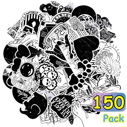 150 Stücke Gotisch Wasserdicht Aufkleber Schwarz und Weiß Aufkleber Schädel Gotisch Vinyl Stoßstange Aufkleber für Laptop Gepäck Notizbuch Skateboard Autos Motorrad Fahrrad Abziehbilder
