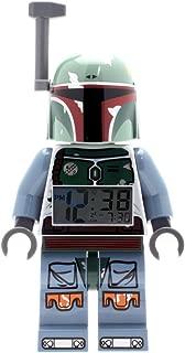 Lego Star Wars Boba Fett Kids Minifigure Light Up Alarm Clock | Green/Blue | Plastic | 9.5 inches Tall | LCD Display | boy Girl | Official