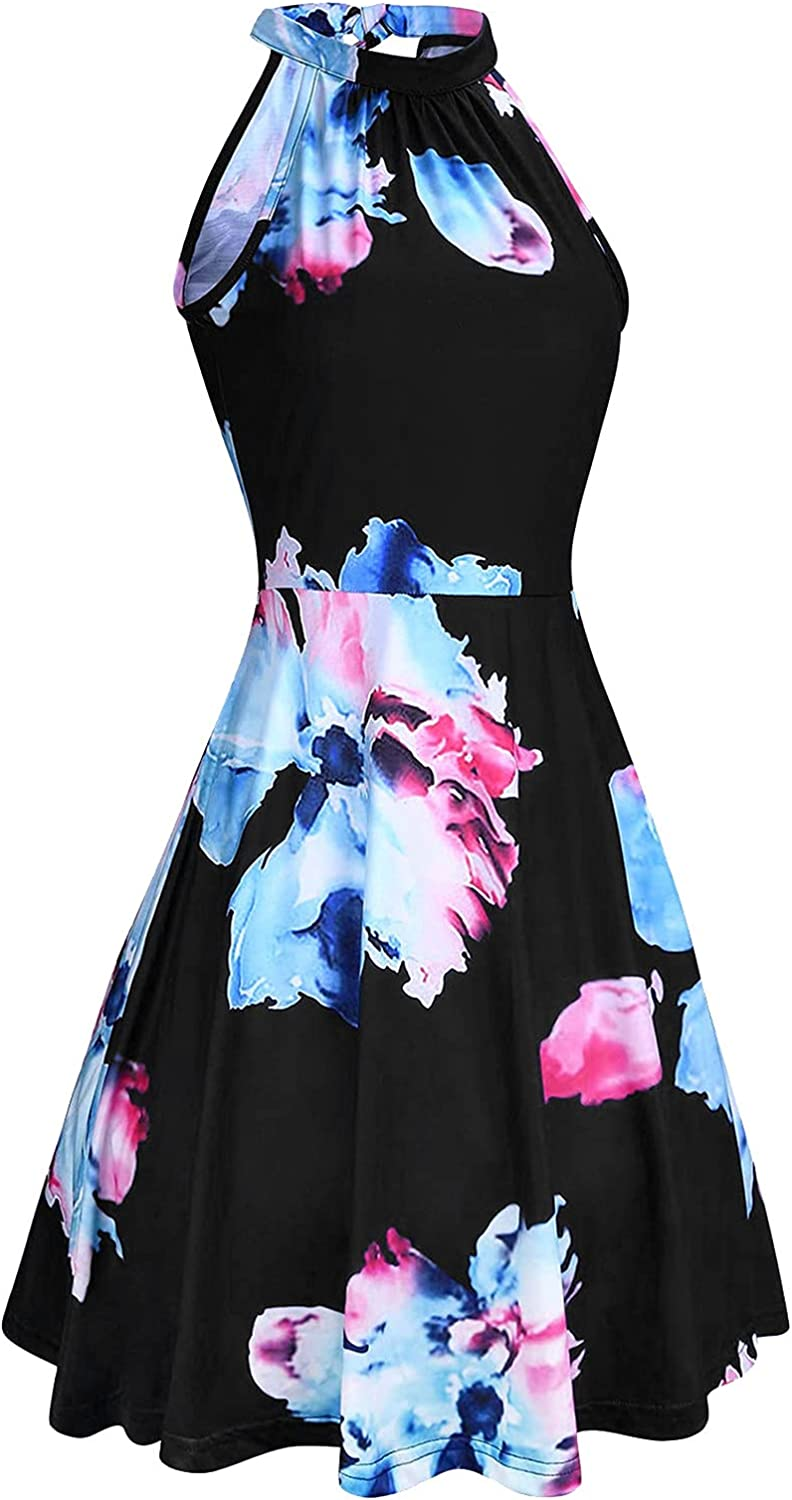 WYTong Women's Summer half Casual security Sleeveless Dress Summe Floral Print