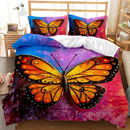 QXbecky Set biancheria da letto Federa copripiumino serie Butterfly 3D per stampa e tintura reattiva 2, set da 3 pezzi in microfibra spazzolata calda e traspirante 228 cm