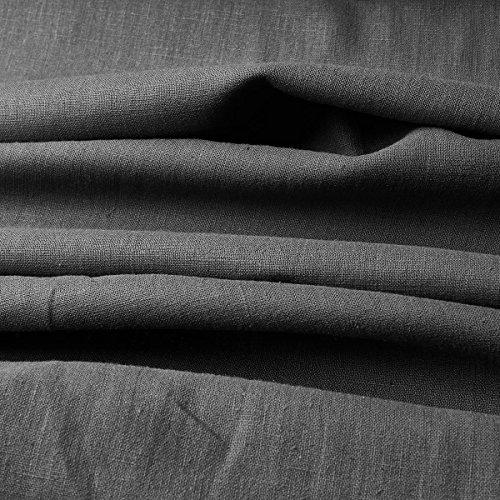 Tela de lino natural - 100% lino puro - Gran textura de lino - 20 colores - Por metro (Gris ratón)