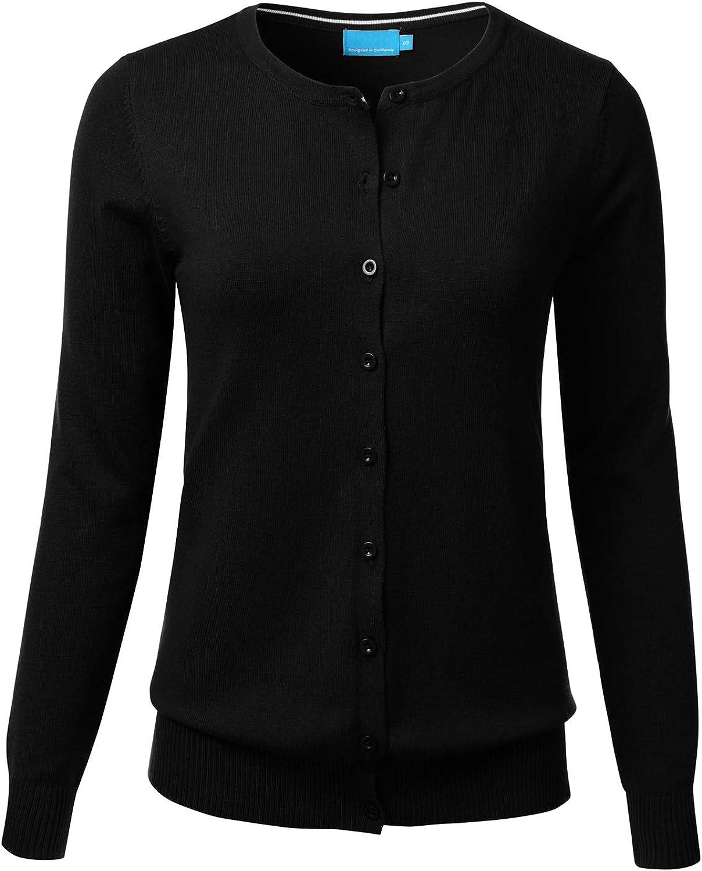 FLORIA Women's Button Down Crew Neck Long Sleeve Soft Knit Cardigan Sweater Black 1XL