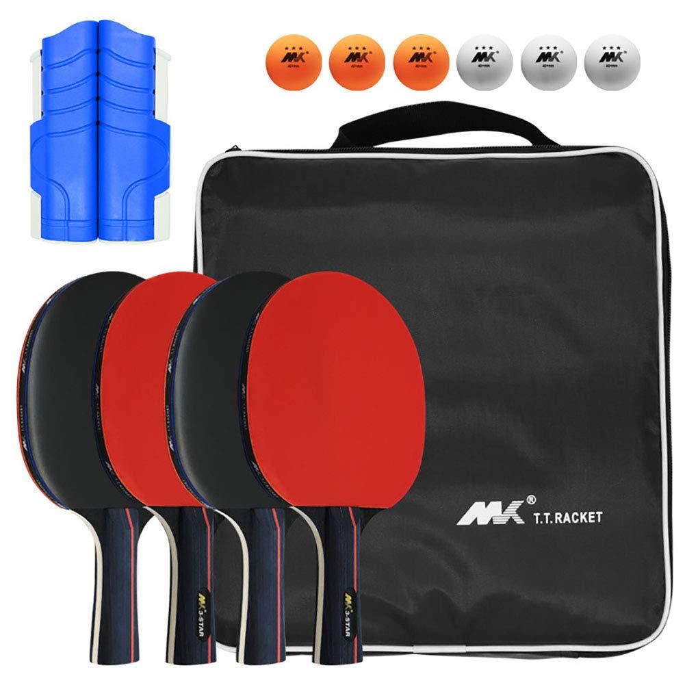 FHISAO Ping Pong Paddle Set, portátil Mesa de Ping Pong Set con 4 Raquetas, 6 Ping-Pong Bolas y 1 retráctil Mesa de Ping Pong Neto, Gran Regalo para Interiores o Exteriores Juegos,A: