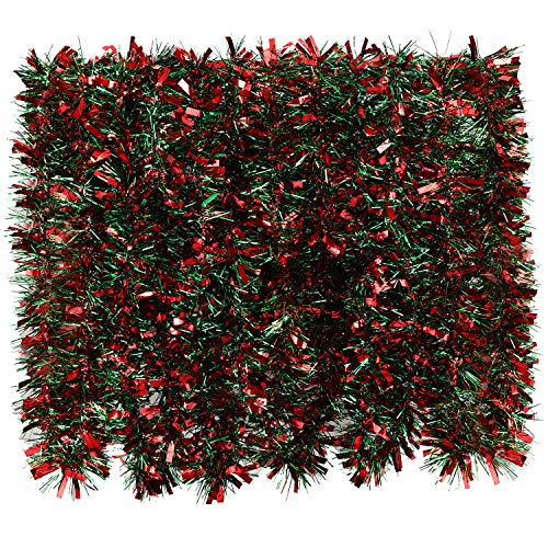 BBTO 39.4 Feet Tinsel Garland Mixed Color Metallic Tinsel Chunky Glittering Tinsel for Christmas Tree Decoration, 6 Pieces (Red and Green Mixed)