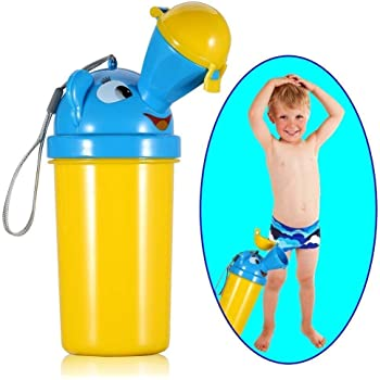 [2019 Upgrade Version] BYETOO Portable Baby Child Kids Travel Potty Hygienic Leak Proof Urinal Emergency Toilet for Camping Car Travel and Kid Toddler Potty Pee Training,Cute Duck Design (boy)