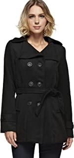 Womens Classic Double Breasted Pea Coat with Belt in Various Styles