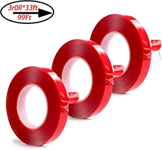 Double Sided Tape,Acrylic Adhesive Removable Clear Heavy Duty Mounting Tape - for Wall Mount,Photo Frame Mounting,Outdoor Mounting,Art Mounting,Glass Mounting (33Ft x 3 Roll) (0.59inch Width)