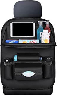 Car Seat Back Storage Bag with Foldable Table Tray PU Leather Multifunction Holder Organizer Durable Protector Travel Accessoires Waterproof