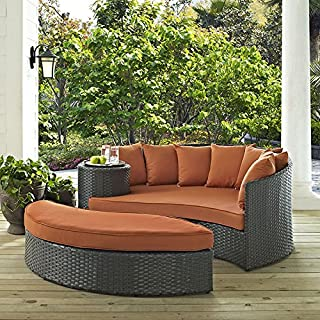 Modway EEI-1982-CHC-TUS Sojourn Wicker Rattan Outdoor Patio Coffee Table, Daybed, Canvas Tuscan Orange