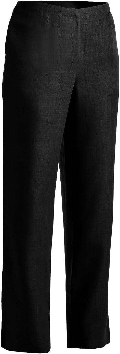 Ed Los Angeles Mall Garment Women'S Flat Front Award-winning store Elastic Pull Pant BLACK On Back