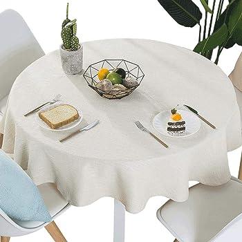 YuHengJin Manteles Antimanchas Mantel Rectangular Redondo Algodón Lino Color Sólido Lavables Antimanchas para Decoración de La Mesa de Comedor Blanco cremoso de 80 cm de diámetro: Amazon.es: Hogar