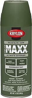 Krylon K09167000 COVERMAXX Spray Paint, Satin Italian Olive, 12 Ounce