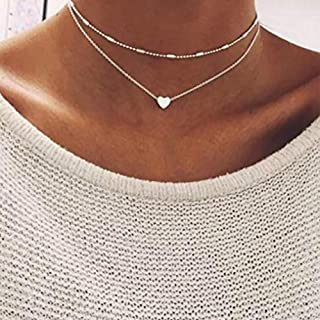Anglacesmade Bohemia Layered Choker Necklace Heart Necklace Disc Choker Silver Heart Disc Pendant Necklace Multilayer Station Chain for Women and Girls(Silver)