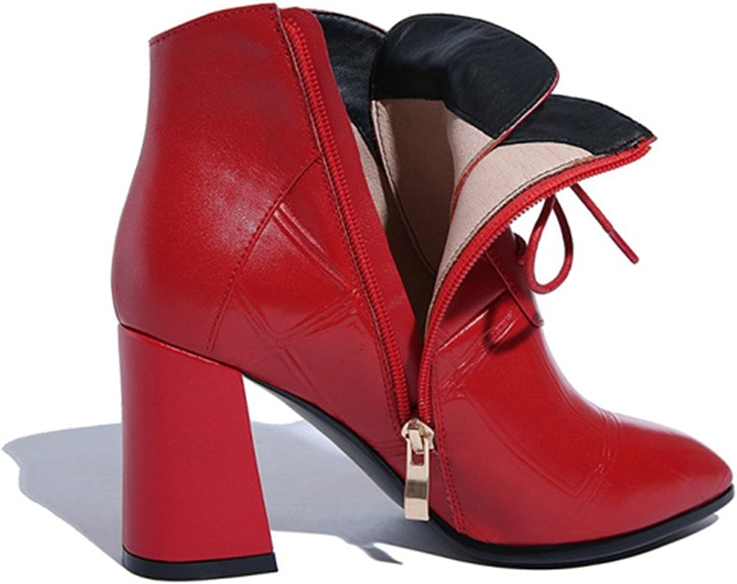 MANRINO Red Genuine Leather Block Heel Women Ankle Boots (6)