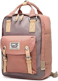goldwheat Backpack Water-resistant School Bag for Women Girls Vintage Bookbag Laptop Daypack,Pink
