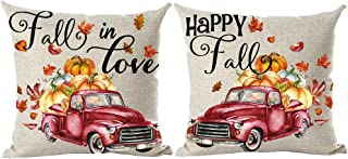 ramirar Set of 2 Hand Painted Watercolor Red Pickup Truck Orange Maple Leaves Pumpkins Decorative Throw Pillow Cover Case Cushion Home Living Room Bed Sofa Car Cotton Linen Square 18 x 18 Inches