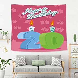 Creative Custom Tapestry 20th Birthday Decorations Birthday Party Theme Lettering on Pink Backdrop Fern Green and Baby Blue Wall Art Decoration for Bedroom Living Room Dorm, Window Curtain Picnic Mat