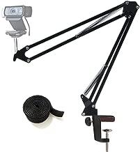 Webcam Stand Desktop Webcam Mount Adjustable Suspension Boom Scissor Arm Camera Desk Clamp Mount Holder for Logitech Webcam C920 C930 C922 C615, Microsoft LifeCam, and Other Devices with 1/4