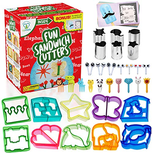 Fun Sandwich and Bread Cutter Shapes for kids - 10 Crust & Cookie Cutters - Mini Heart & Flower Stainless Steel Vegetable & Fruit Stamp Set and 20 Food Picks Loved by both Boys & Girls!