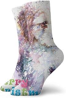 Kevin-Shop, Bichon Frise Painting Calcetines Tobilleros navideños Calcetines Casuales y acogedores para Hombres, Mujeres, niños