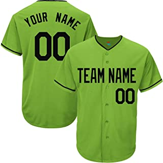 Light Green Custom Baseball Jersey for Men Women Youth Replica Embroidered Team Name & Numbers S-5XL Black