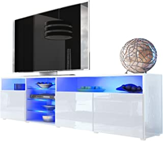 Meble Furniture & Rugs TV Stand Roma Matte Body High Gloss Doors Modern TV Stand LED (White)
