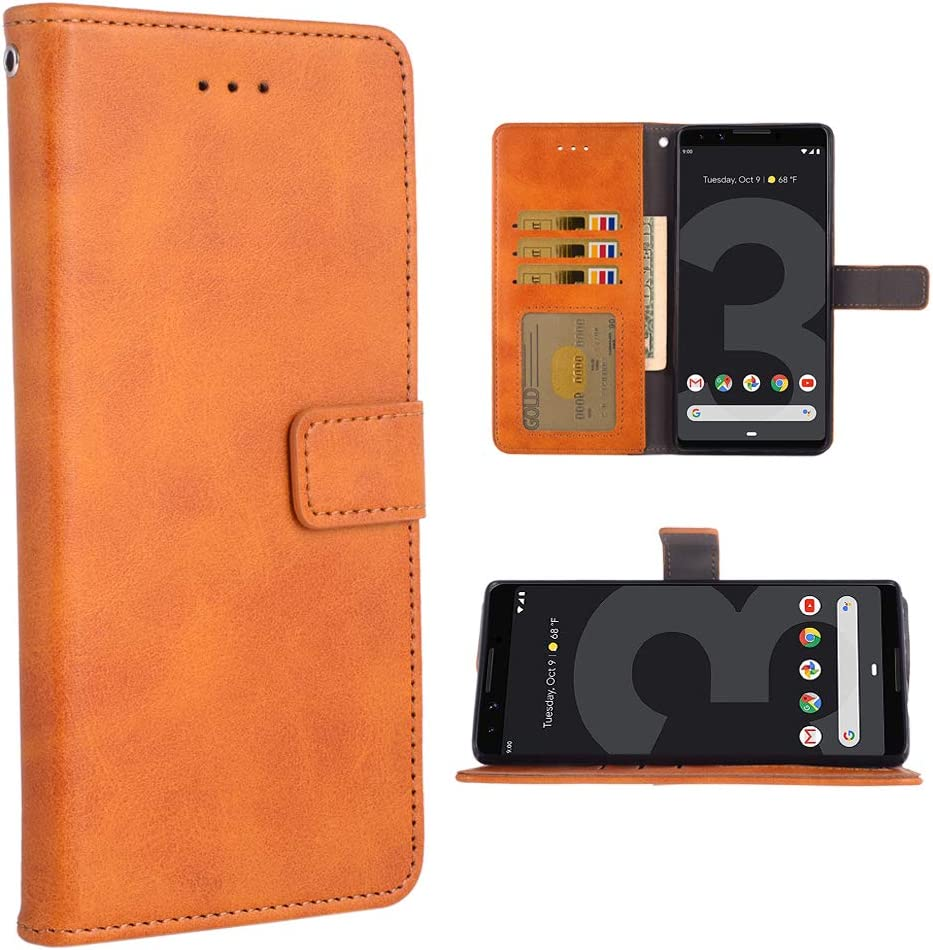Phone Case for Google Pixel 3 XL Folio Flip Wallet Case,PU Leather Credit Card Holder Slots Full Body Protection Kickstand Protective Phone Cover for Pixel3XL Pixel3 LX Pixle 3XL Cases Brown