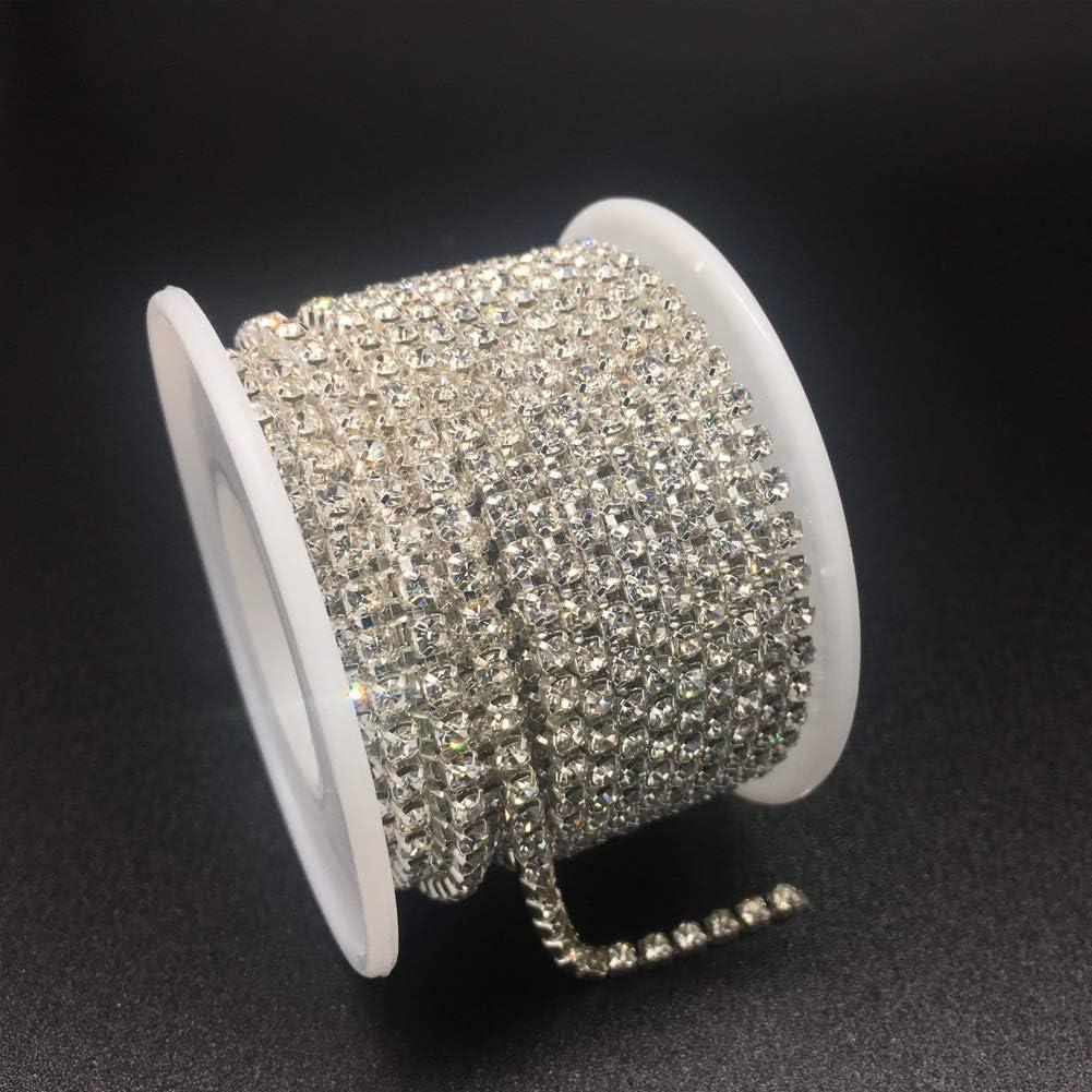 Crystal Claw Cup Chain Roll Crystal, SS6 2MM Dowarm 1 Roll 10 Yards Rhinestone Chain Sew on Crystal Rhinstone Chain Trim Crystal Rhinestones Close Chain