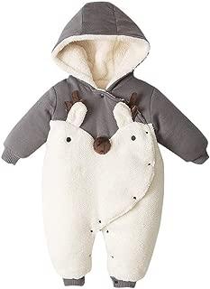 WARMSHOP Baby Boys Girls Winter Warm Romper Jacket Cartoon Pattern Zip Thick Snowsuit Hoodie Jumpsuit