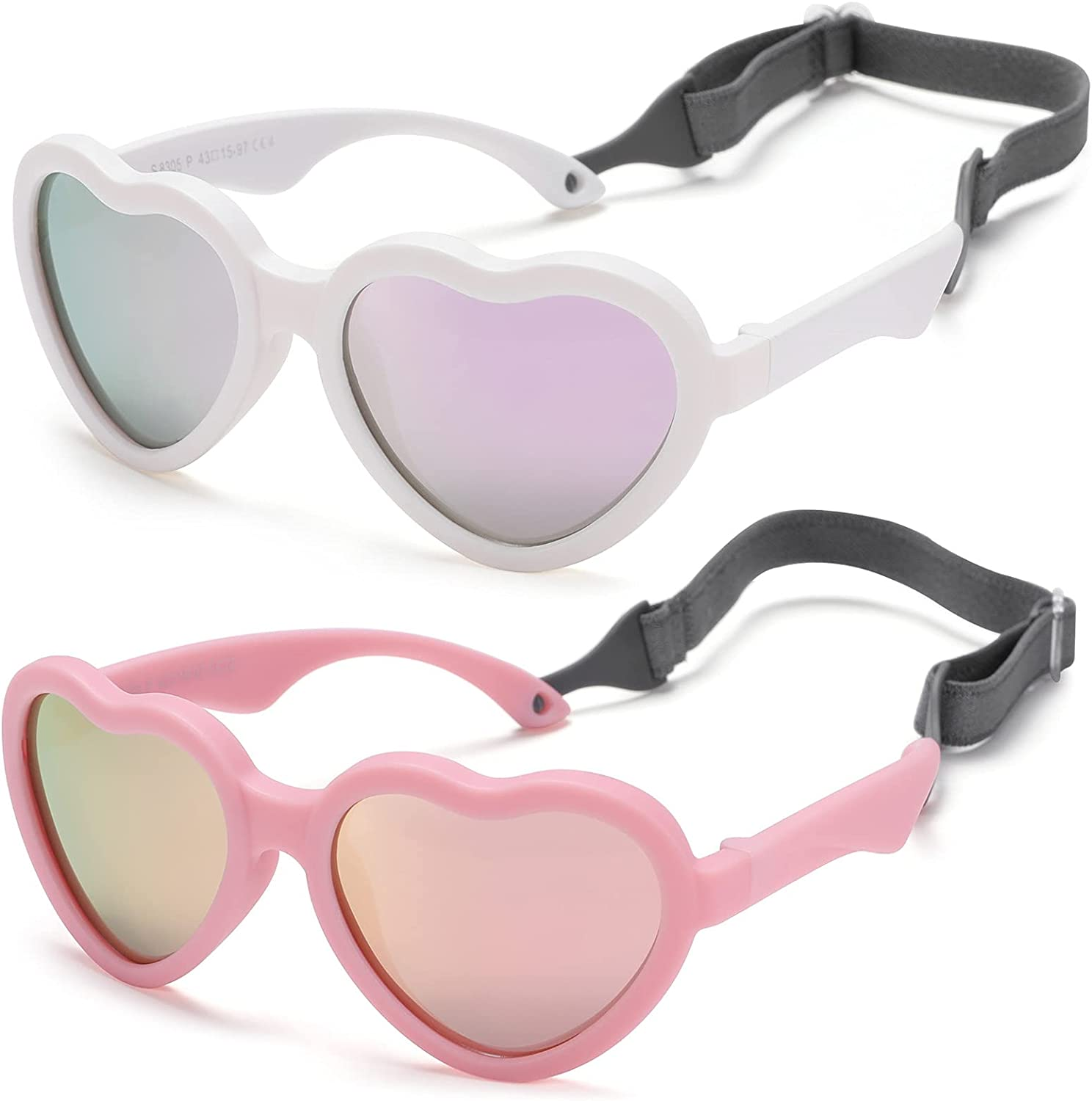 Flexible Heart Shaped Baby Polarized Sunglasses with Strap Adjustable Toddler...