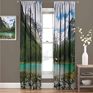 EDZEL Bedroom Thermal Blackout Curtains, Room Darkening, Noise Reducing, Landscape, Canada Ohara Lake Yoho National Park with Mountains Nature Scenery Art Photo, 72