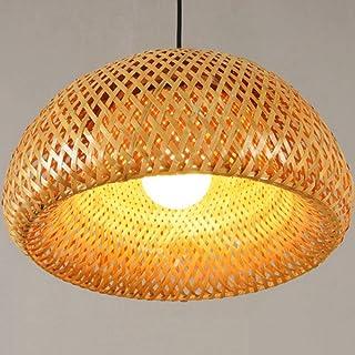 Pantalla de mimbre de mimbre de bambú Tejido a mano de doble capa Pantalla de cúpula de bambú Diseño de lámpara japonesa rústica asiática-Color sólido_Los 30 * 18cm