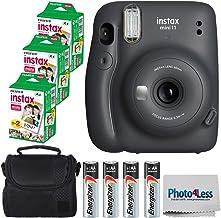 Fujifilm Instax Mini 11 Instant Camera - Charcoal Grey (16654786) + 3x Packs Fujifilm Instax Mini Twin Pack Instant Film + Batteries + Case - Instant Camera Bundle