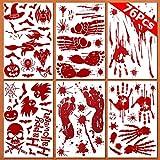JINLE - Lote de 6 pegatinas de ventana con sangre, diseño de huellas y huellas de horror de PVC para Halloween vampiro Zombi decoraciones