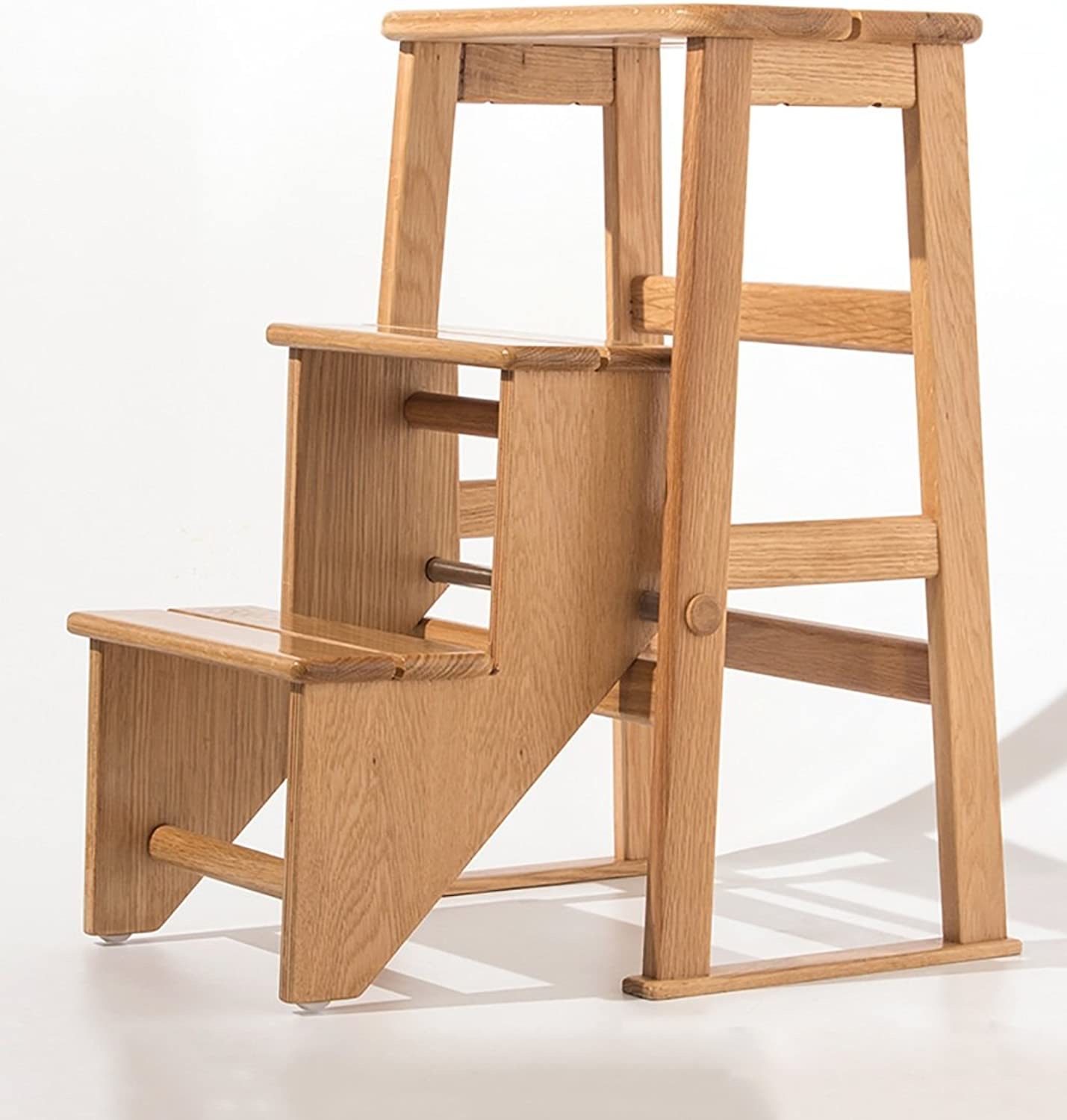 Folding 3 Steps Solid Wood Stairs Ladder StoolClimb Up Step Stool Multifunction Dual Use Flower Stand Shelf