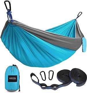 Kootek Camping Hammock Double & Single Portable Hammocks with 2 Tree Straps, Lightweight Nylon Parachute Hammocks for Back...