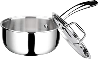 Duxtop Whole-Clad Tri-Ply Stainless Steel Saucepan with Lid, 1.6 Quart, Kitchen Induction Cookware