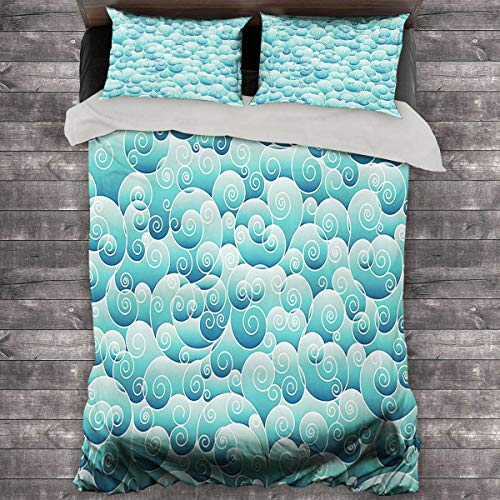 Miles Ralph Teal Decor Collection Summer Duvet Cover Spirals Swirl Patterns Abstract Waves Wind Ornamental Decorating Artwork Print Quilt Cover and Pillowcase 89'x89' inch Teal Turquoise