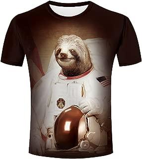 ZeShan 3D Shirts Men Sloth Astronaut Funny All Over Print T-Shirts