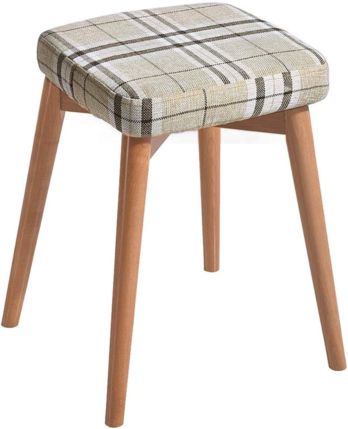 Solid Wood Dressing Stool Chair Creative Fashion Bench Nordic Upholstered Stool 4 Legs and Cotton Linen Cover for Kitchen Living Room Bathroom High Resilience Sponges Seat Height 75 cm