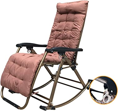 LXLA - Foldable Adjustable Zero Gravity Rocking Chair, Oversized Oudoor Recliing Lounge Chair for Heavy Duty People - Support 440lbs (Color : with Thick Cushion)