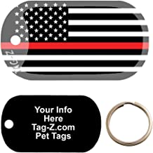 Custom Engraved Pet Tag - Thin Red Line Firefighter Flag - Dog Tag - Tag-Z Wag-Z